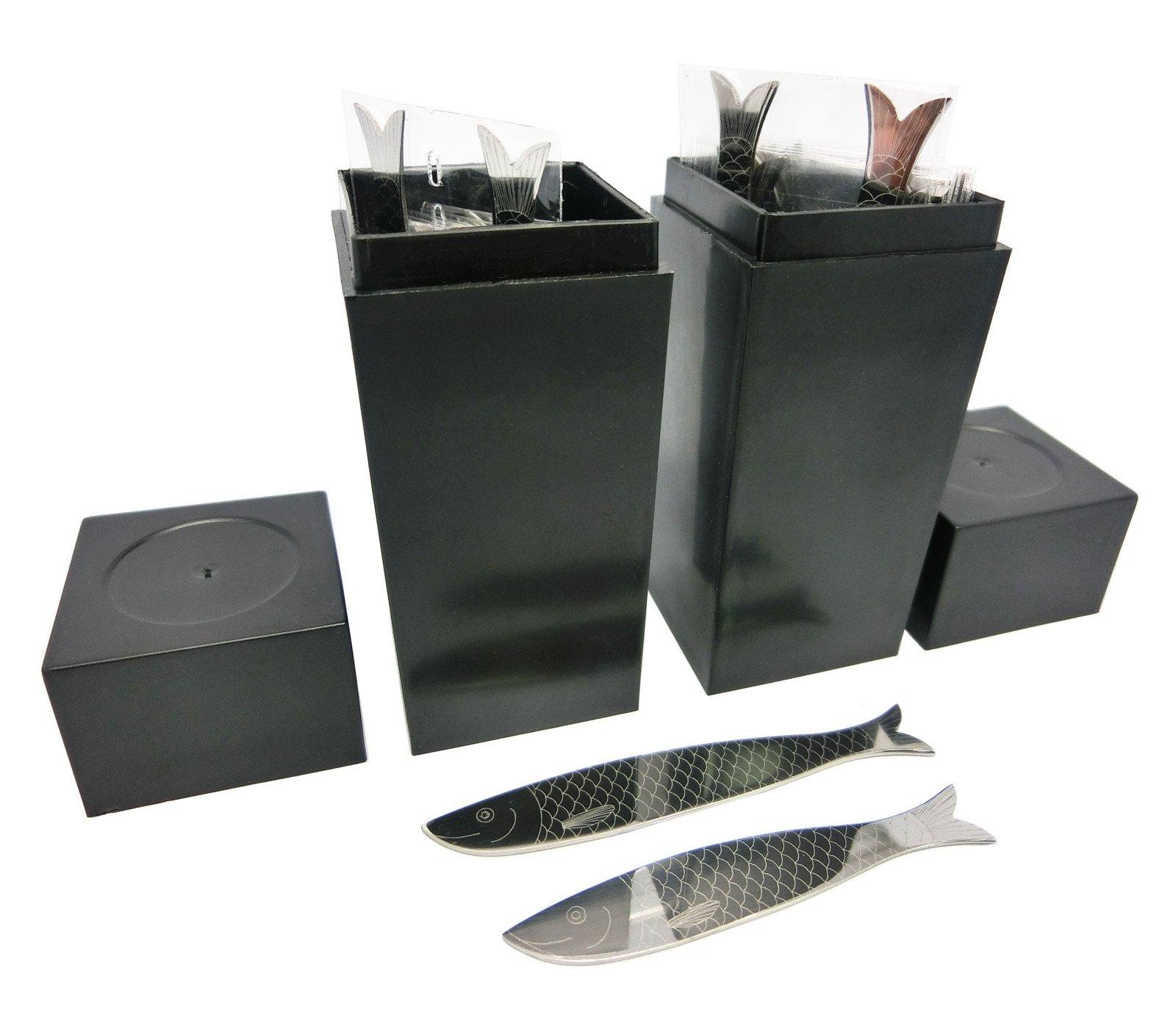 Shang Zun 40 Pcs Fish Design Metal Collar Stays in 2 Black Box, 2.2''/ 2.5''
