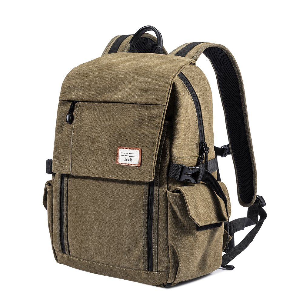 Zecti Camera Backpack Waterproof Canvas DSLR Camera Bag (New Version) For 1 DSLR 4xLens, Laptop and Other Digital Camera Accessories with Rain Cover-Green
