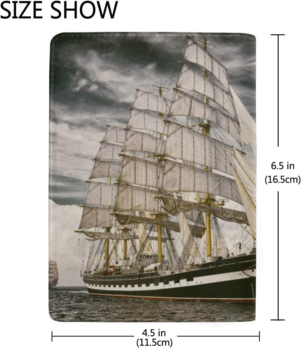 Sailing Ship At Sunset In The Sea Blocking Print Passport Holder Cover Case Travel Luggage Passport Wallet Card Holder Made With Leather For Men Women Kids Family