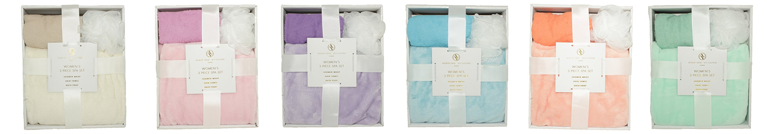 Adrienne Vittadini Women's 3 Piece Bath Body Plush Shower Towel Wrap Spa Set | Bath Body Towel Wrap with Adjustable Fastener, Hair Towel Twist, Loofah/Bath Body Sponge by Adrienne Vittadino (Image #5)