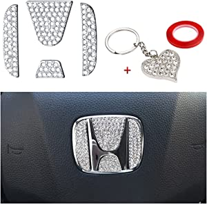 PIFOOG Car Interior Bling Accessories for Honda Steering Wheel Logo Caps, Crystal Emblem Decor Fit Civic Accord CRV XRV HRV Pilot Odyssey Clarity Accessories Parts Zinc Alloy Silver 4PCS