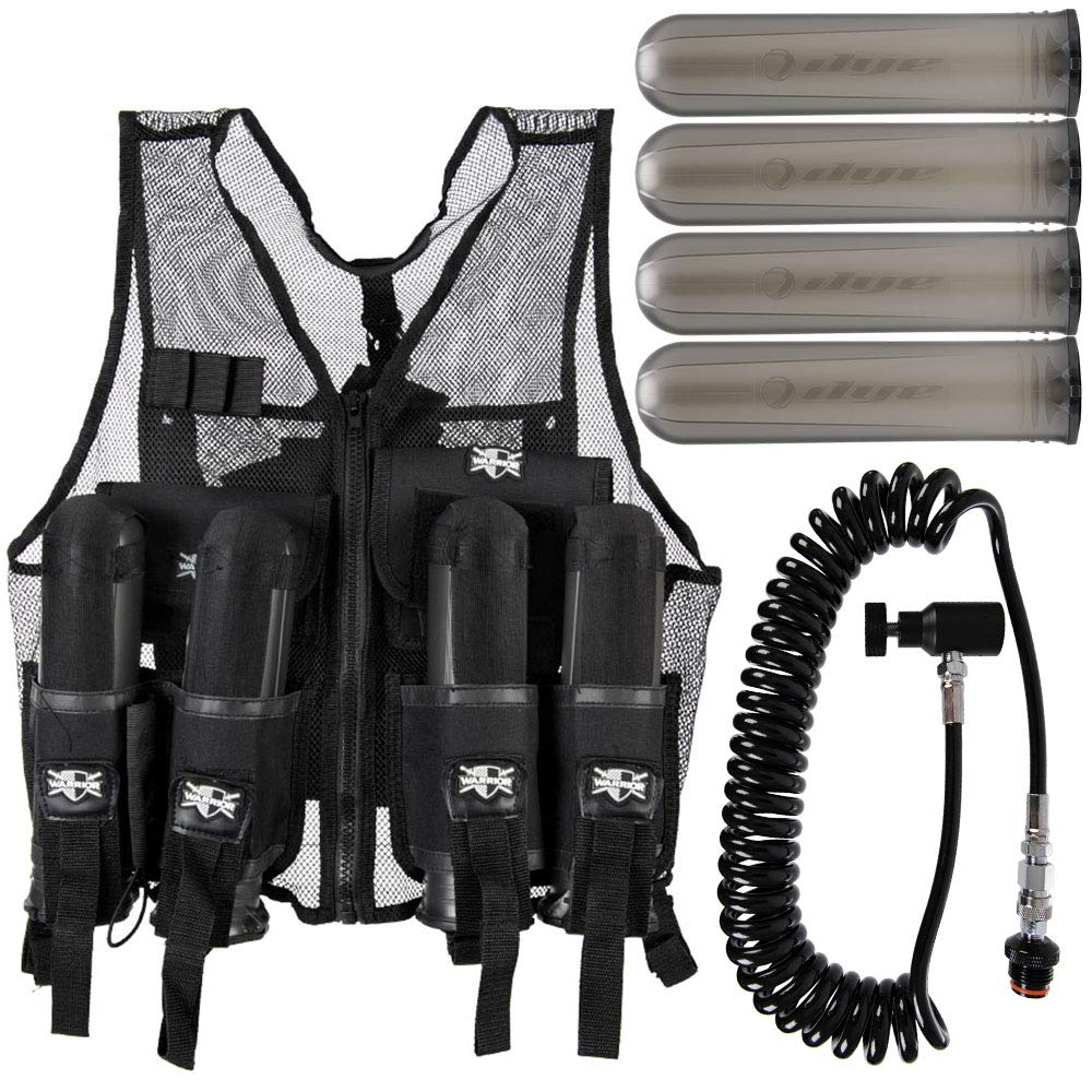 Action Village Tactical Warrior Paintball Vest - Adjustable Light Weight Version Holds 4 Pods & 1 Tank (Vest with Remote & 4 Smoke Dye Pods) by Action Village
