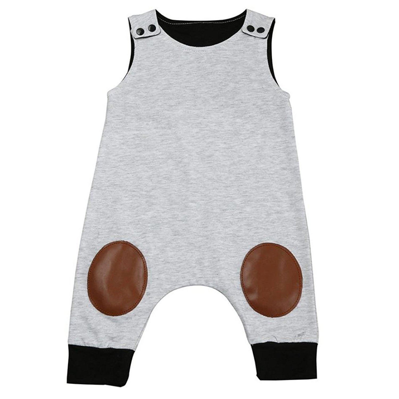 HappyMA Infant Toddler Baby Boy Romper Summer Jumpsuit Sleeveless Clothing Set (Grey ## 1, 6-12 Months/80)