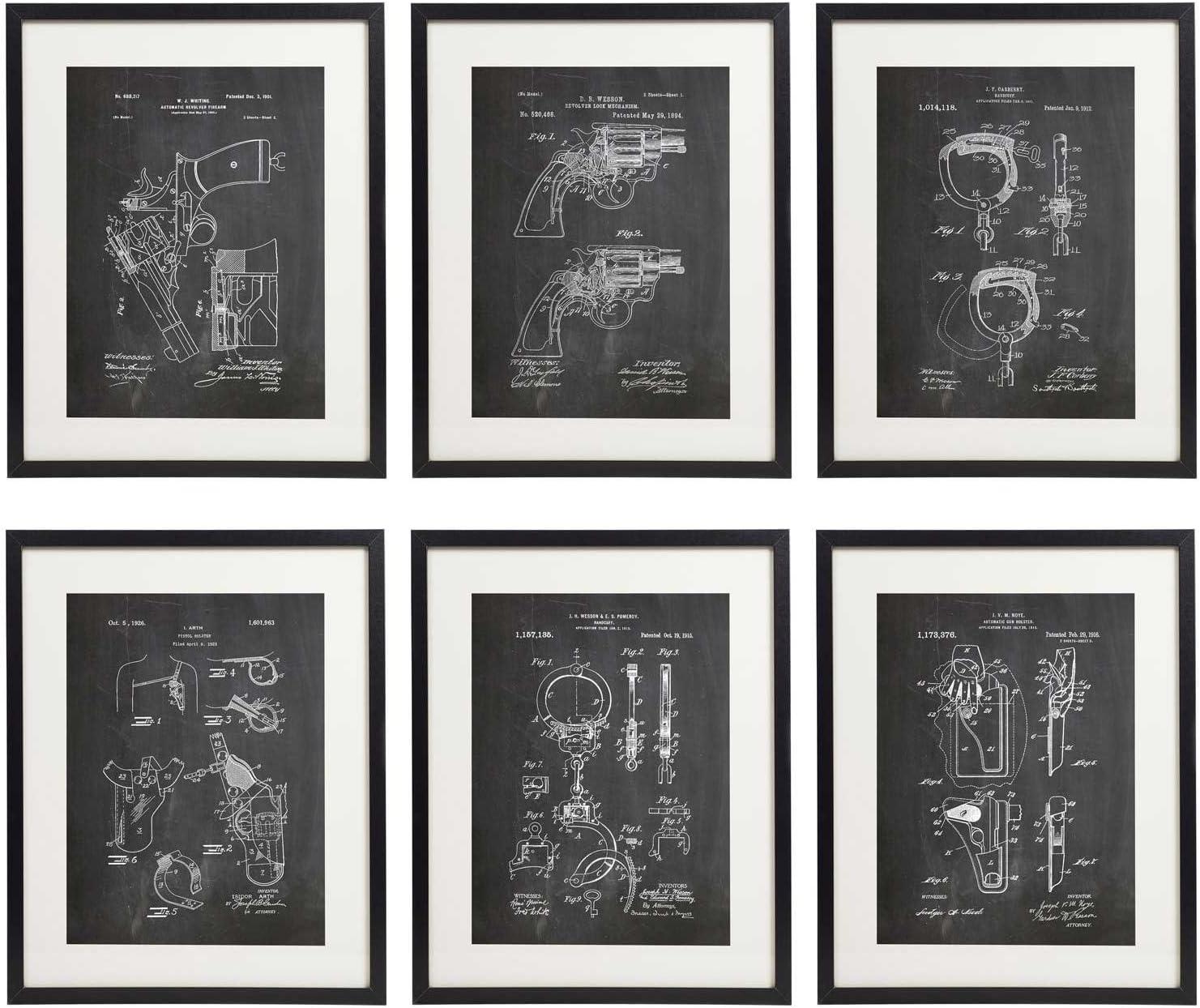 IDIOPIX Police Patent Wall Decor Chalkboard Art Print Set of 6 Prints UNFRAMED 02