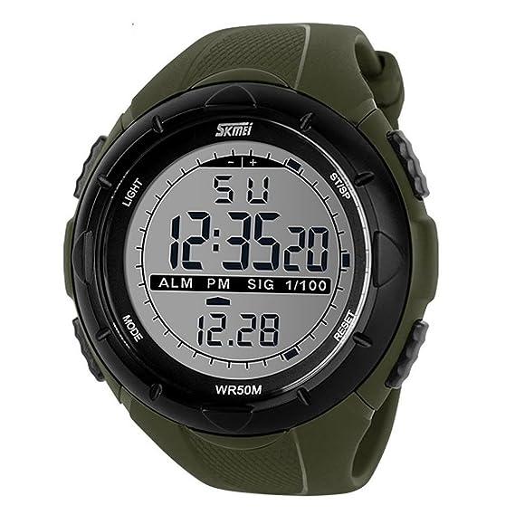 Para hombre Military Digital reloj deportivo ejército electrónico al aire libre impermeable LED luz de fondo Pantalla Alarma: Amazon.es: Relojes