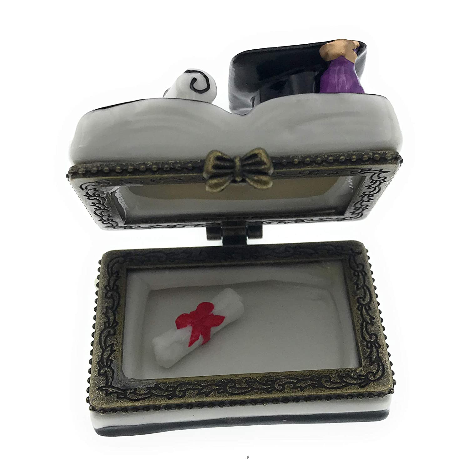 Graduation Diploma and Hat on Book Shaped Porcelain Trinket Box with Tiny Trinket Inside 1.75W by ArtGifts