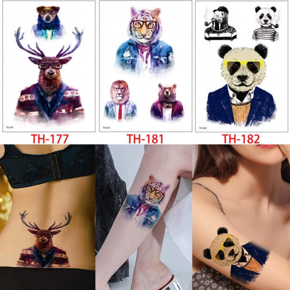 tzxdbh 6 Piezas/Conjunto de Colorido Animal Tatuaje Lobo Leopardo ...