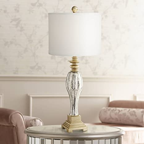 Tyson Traditional Table Lamp Mercury Glass And Light Gold Base White Drum Shade For Living Room Family Bedroom Bedside Regency Hill