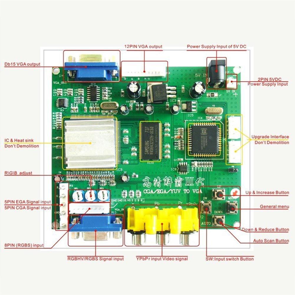 Adealink GBS8200 CGA//EGA//YUV//RGB to VGA Arcade Game HD Video Converter Board