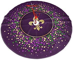 MJINSJIA-TS Mardi Gras Purple Gold Fleur De Lis Christmas Tree Skirt Gorgeous for Xmas Party Ornaments Decoration Accessory Gift