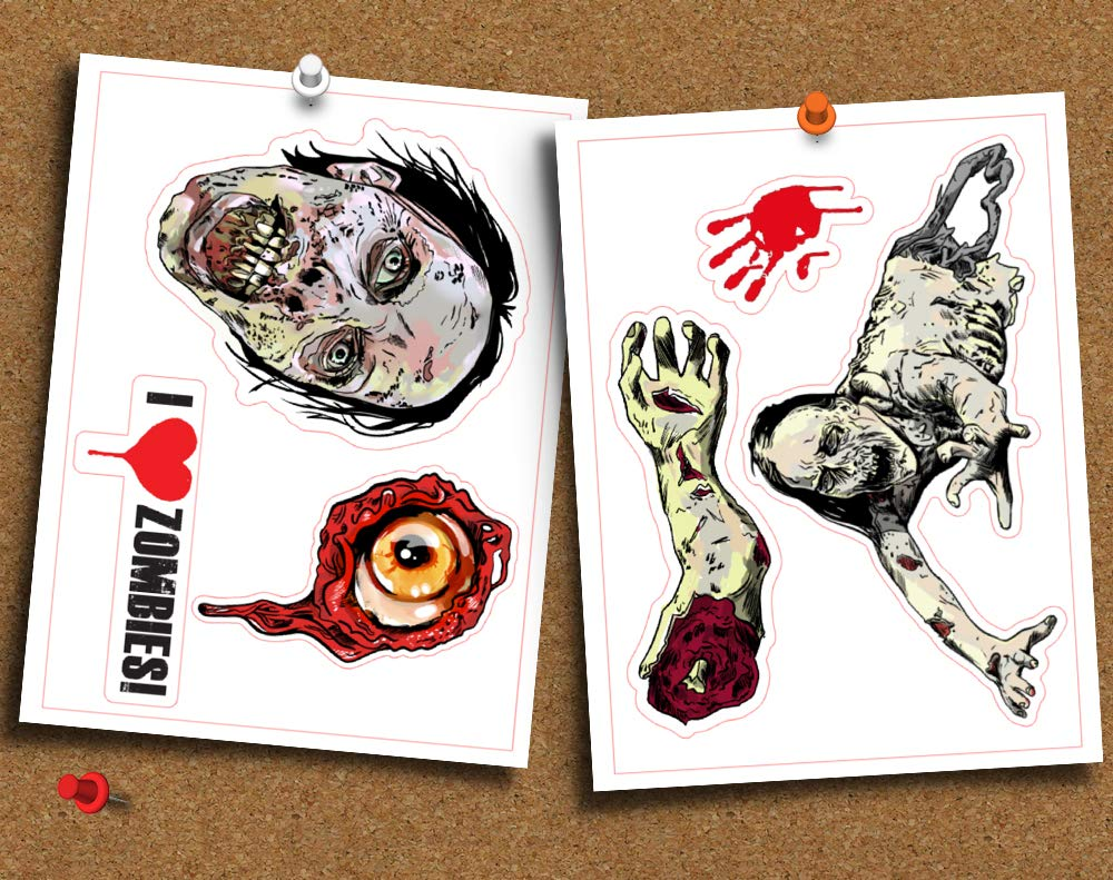 Zombie Walking Dead Set of 6 Die Cut Gloss Stickers Planner or Whatever by Blind Eye Design for Laptop