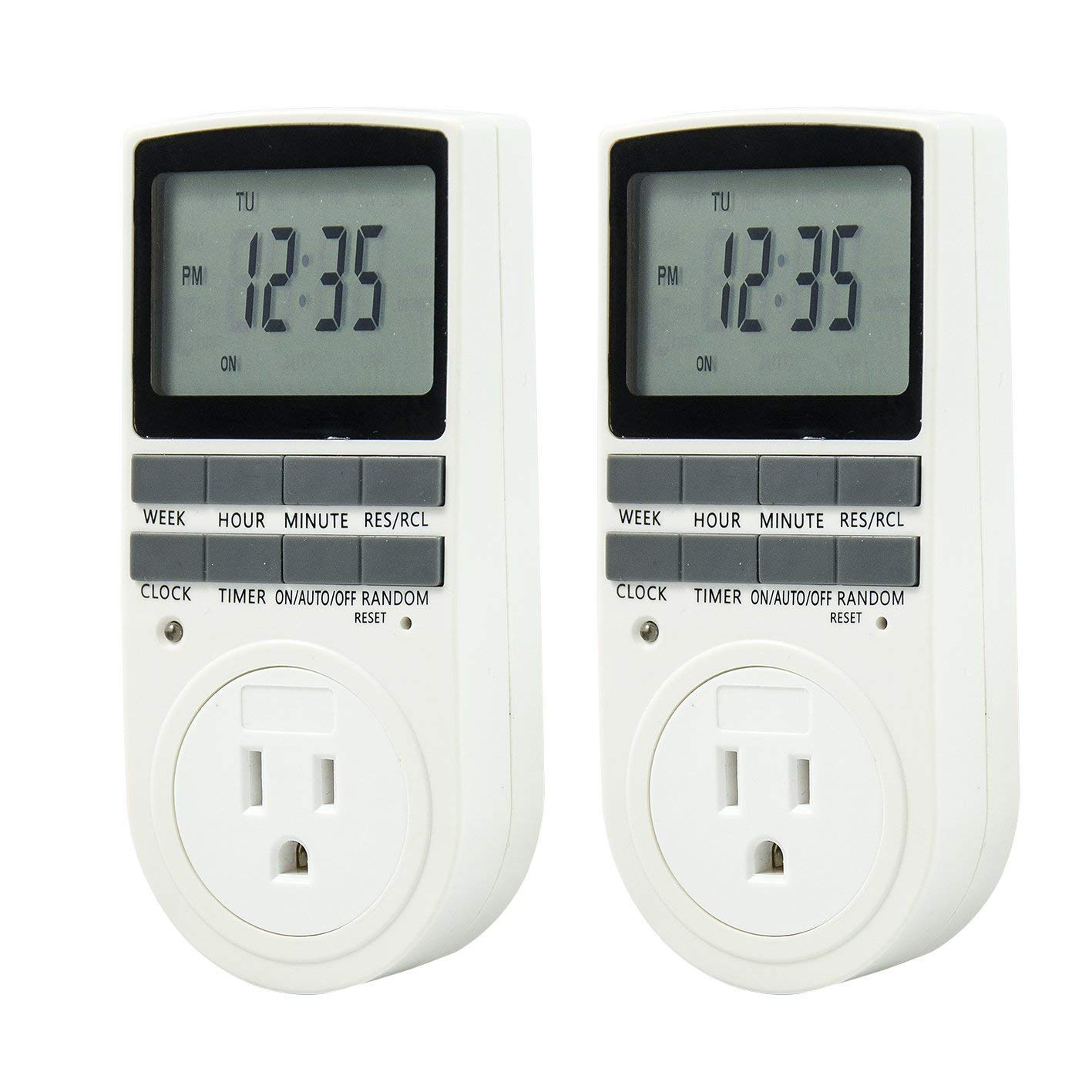 Enover TS18 15A//1800W 7-day Programmable Plug-in Digital Timer Switch with 3-Pro