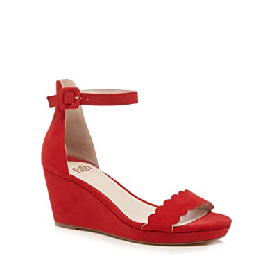 7f2f8156d6fb Faith Womens Red Suedette  Dust  Mid Wedge Heel Ankle Strap Sandals 3