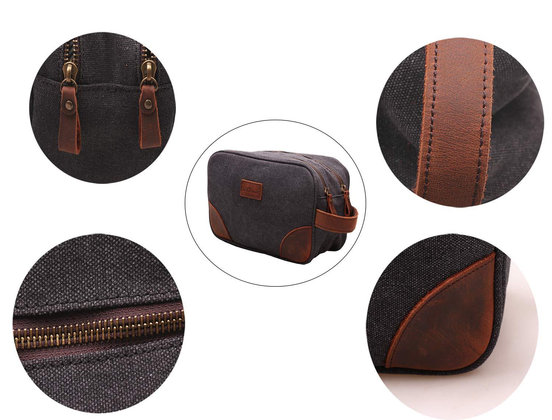 MSG Vintage Leather Canvas Travel Toiletry Bag Shaving Dopp Kit #A001