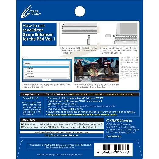 saveEditor Game Enhancer for The PS4 Vol 1
