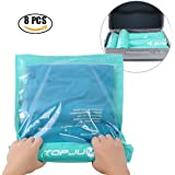 "Space Saver Storage Bags for Clothes by TOPJUM No Vacuum or Air Pump Needed Travel Compress Vacuum Roll-Up Reusable Storage Bags Perfect Packing Organize (8, 4 Large (28"" X 20""), 4 Medium (24"" X 16""))"