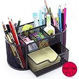 Bureau Organisateur, Vonimus Organisateur de Bureau Mesh Tidy Bureau Caddy Plateau Multi-fonctionnel Crayon Noir Métal Crayon Manique (Noir)