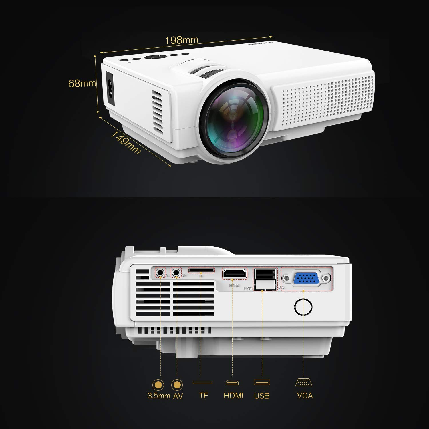 TENKER Upgrade Lumens Q5 Mini Projector, with Big Display LED Full HD Video Projector, Compatible with 1080p HDMI, Fire TV Stick, VGA, USB, AV for Home Theater Entertainment, Party and Games (White) by TENKER (Image #8)