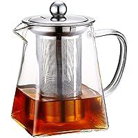 Szklane dzbanki do herbaty ze zdejmowanym zaparzaczem, wysoki dzbanek ze szkła borokrzemowego z płytką do rozpuszczania…