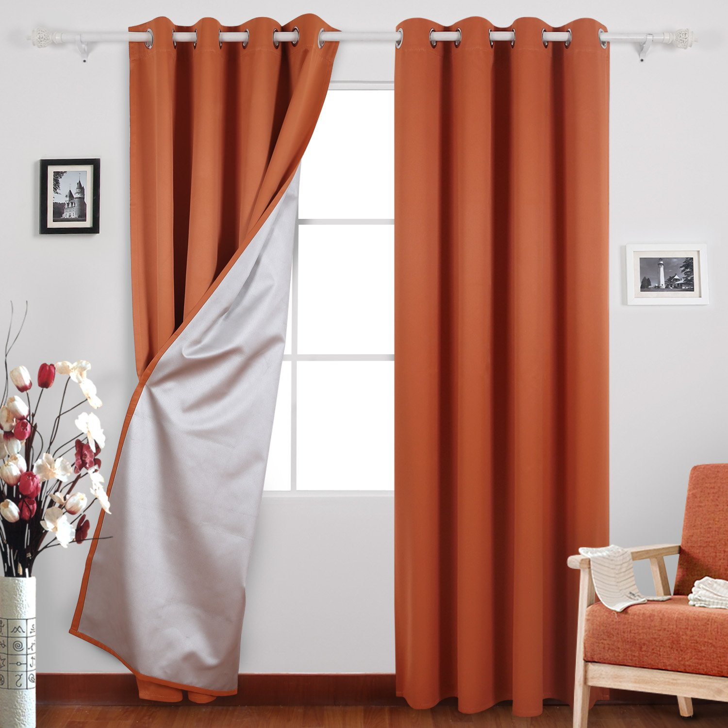 Deconovo Grommet Blackout Drapes with Silver Coating Room Darkening Curtains for Girls Boys Room