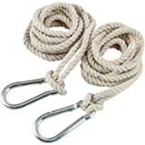 2 Tree Swing Cotton Rope Hanging Straps 9.8 FT Each with Heavy Duty Carabiner Hooks Kit for Camping Hammock or Tire…
