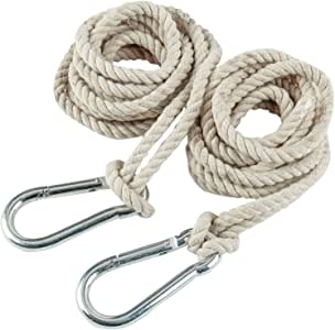 2 Tree Swing Cotton Rope Hanging Straps 9.8 FT Each with Heavy Duty Carabiner Hooks Kit for Camping Hammock or Tire Playground Accessories - Safer Extension Conversion/Easy Setup Indoor Outdoor