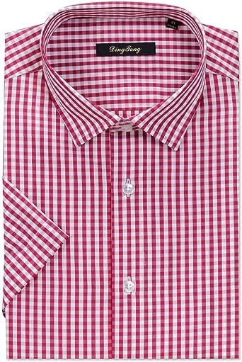 Ding Tong - Camisa de cuadros de manga corta para hombre (algodón, seda, estilo casual a cuadros), color rojo: Amazon.es: Ropa y accesorios
