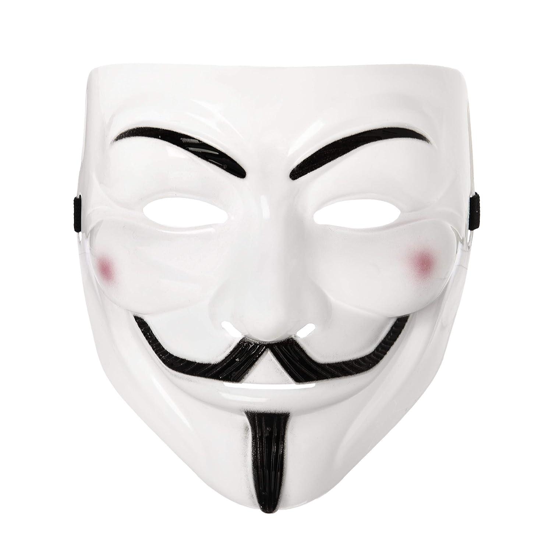 UltraByEasyPeasyStore 5 x Vestido de Lujo Adultos PVC Calidad Máscara con Elástica Correa Guy Fawkes Máscara Facial Lujo Traje de Halloween de Ultra (5 ...