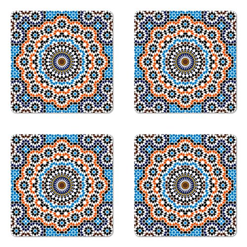 Ambesonne Vintage Coaster Set of Four by, Moroccan Ceramic Tile Inspired Floral Arabic Old Fashioned Cultural Mosaic Print, Square Hardboard Gloss Coasters for Drinks, Multicolor