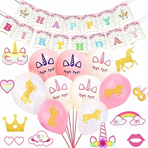 Set Of 27 Sakolla Unicorn Party Decorations Balloons Happy Birthday Banner Photo