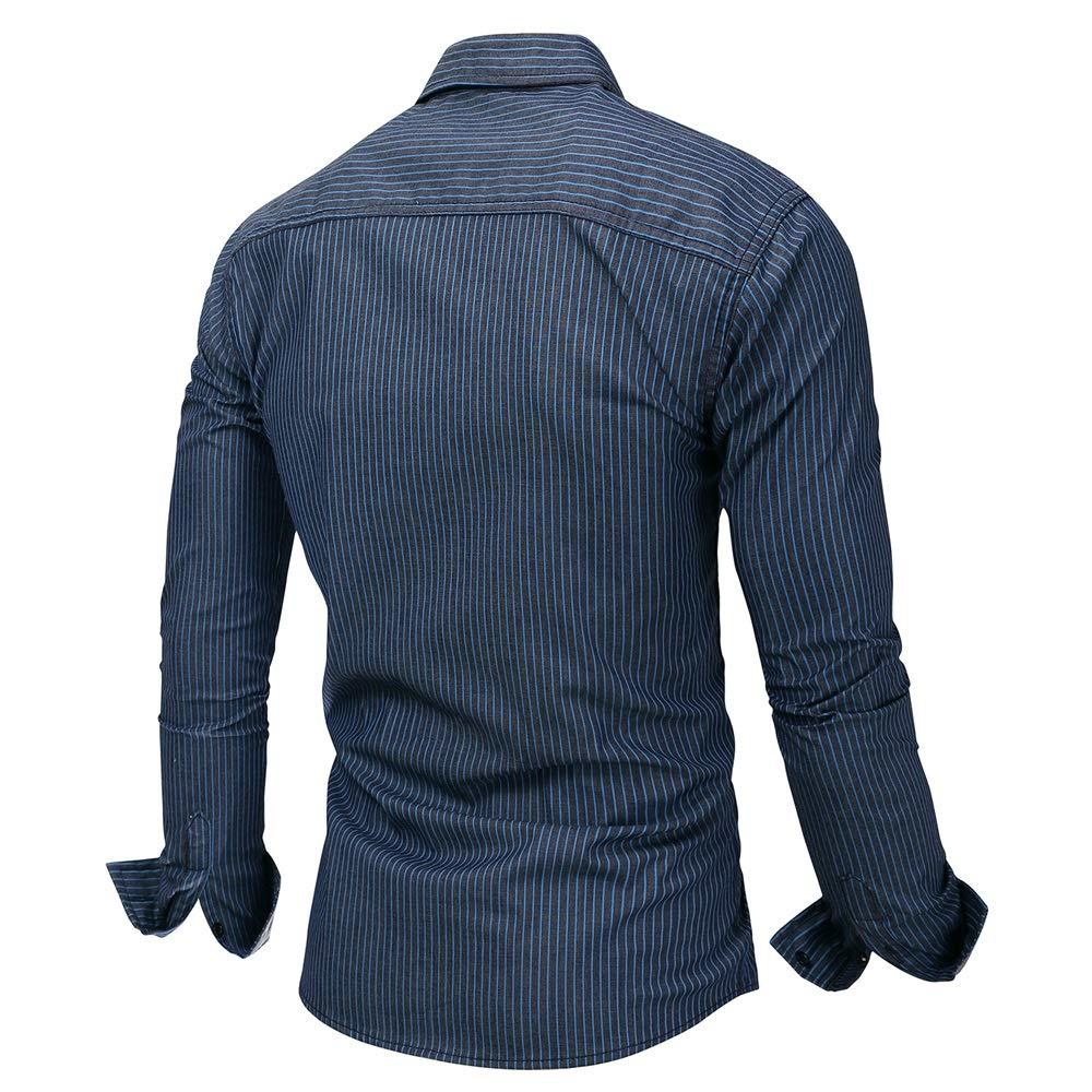 5e3b84477d ... Navy blueee Men's Shirts Fashion Leisure Men's Men's Men's Stripe Dress  Shirt-Cotton Long Sleeve ...