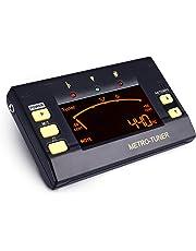 Mugig 3 en 1 Multifunción Afinador Metrónomo Sintonizador Digital para Guitarra, Bajo, Violín, Ukulele con Gran Pantalla LCD de Color, 30-250 PPM, 8 Ritmos, 0-9 Pulsos. Registrador con pinza y Baterías Incluidas