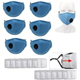 Freefa Face Bandanas Washable and Rreuseable with Breathing valve and Five-layer Activated Carbon Filters Replaceable Filters