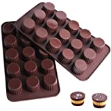 Webake Chocolate Candy Molds Silicone Baking Mold for Snack Size Peanut Butter Cup, Jello, Keto Fat Bombs and Cordial, Pack o