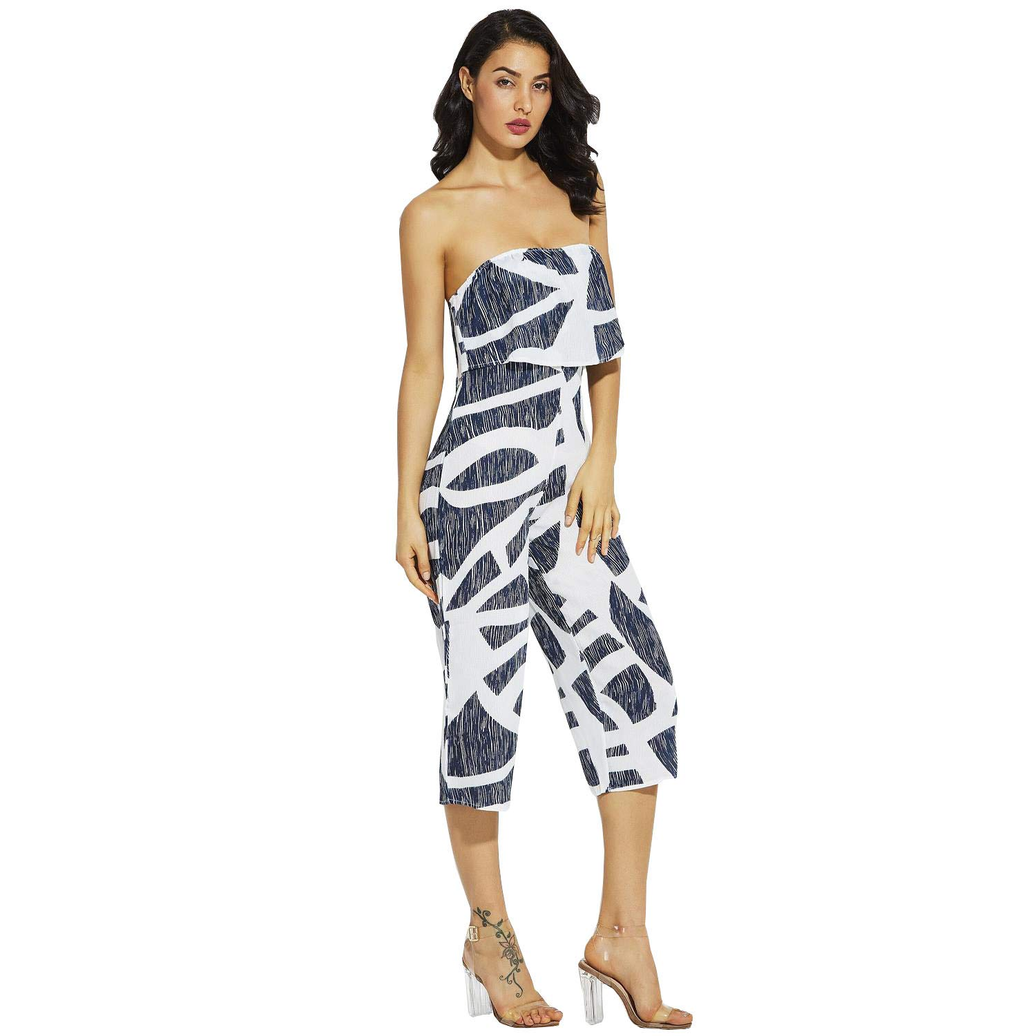 Vcegari Women's Off Shoulder Strapless Jumpsuit Floral Print Striped Wide Leg Beach Rompers