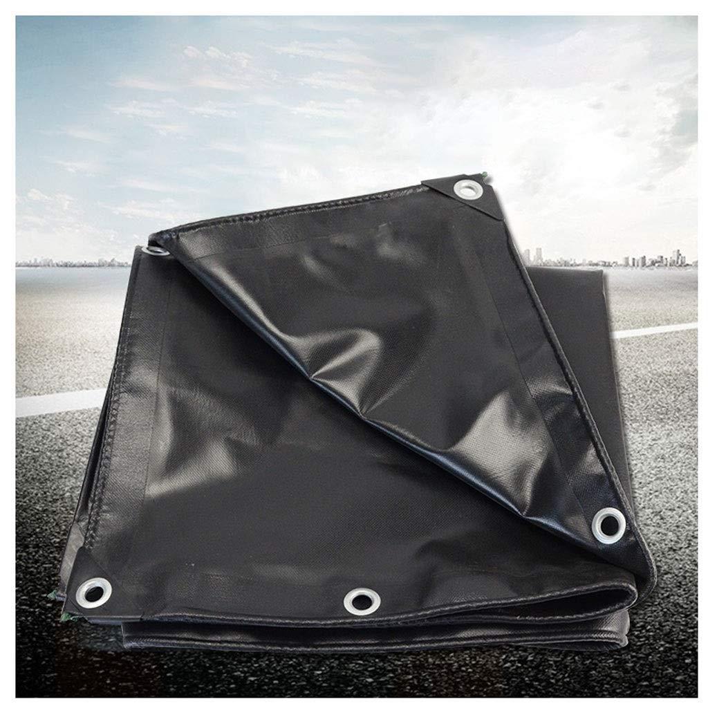 屋外ターポリンブラックターポリンターポリンターポリンターポリン防塵トラックポンチョナイフスクレーパーキャンバスレインカバー複数のサイズ利用可能(サイズ:7.6m * 10m)