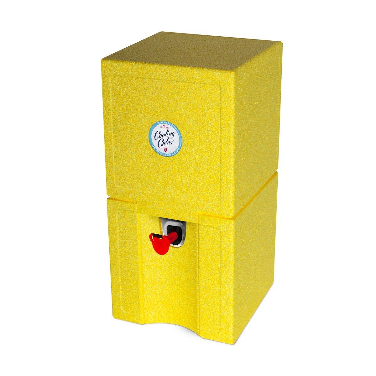 Cooling Cubes Spot - Beachparty und Sundowner Kühlkiste für 5 Liter Bierfass Partyfass Bierkühler Bierfasskühler (Gelb)