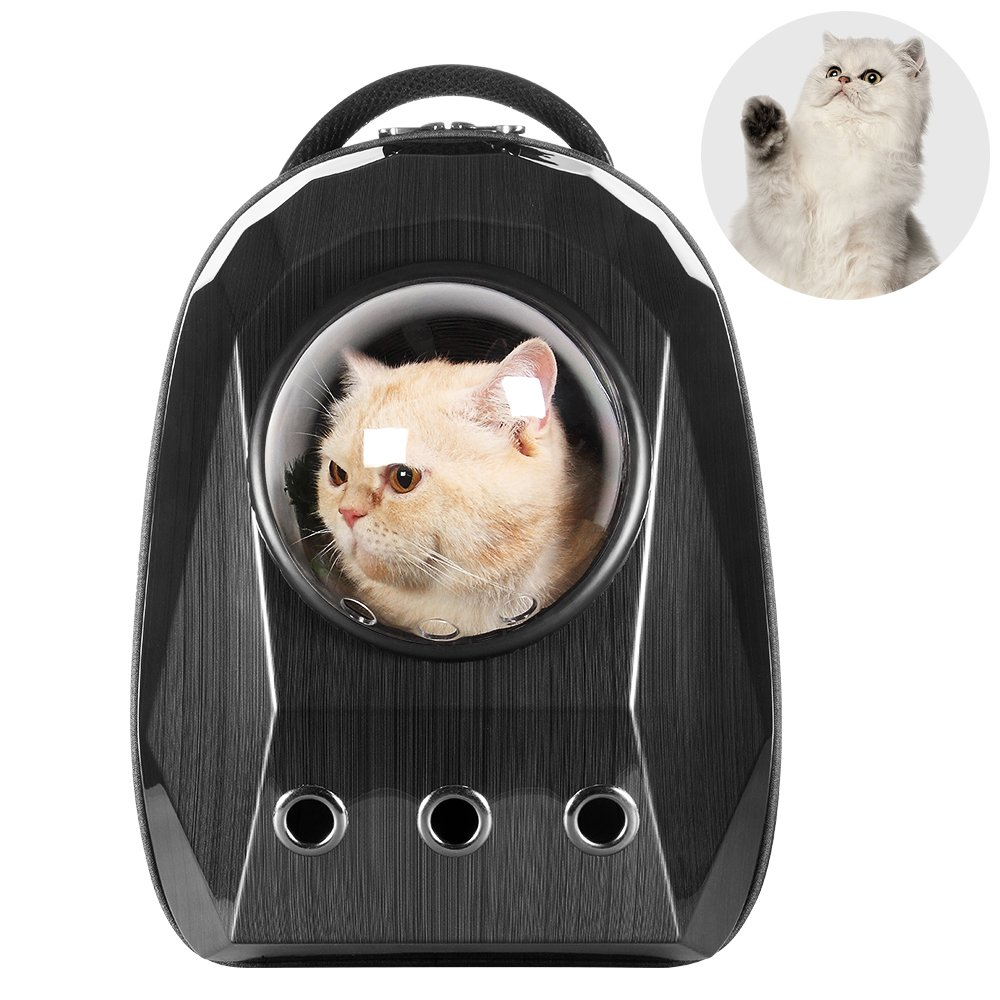 Lemonda Breathable Diamond Shaped Pet Bubble Capsule Space Backpack,Waterproof Cat Dog Travel Carrier Shoulder Bag,Black