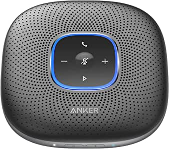 Anker PowerConf Bluetooth Speakerphone with 6 Microphones, Enhanced Voice Pickup, 24H Call Time, Bluetooth 5, USB C, Bluetooth Conference Speaker Compatible with Leading Platforms, For Home Office