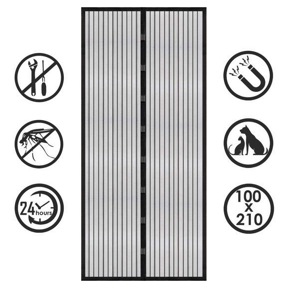 Black 200x220cm(78x86inch)AMENZ Magnetic Screen Doors, with Full Frame Easy Install, Magnetic adsorption, Pet friendly, Full Size, for Exterior Doors, Interior Doors, White 200x240cm(78x94inch)