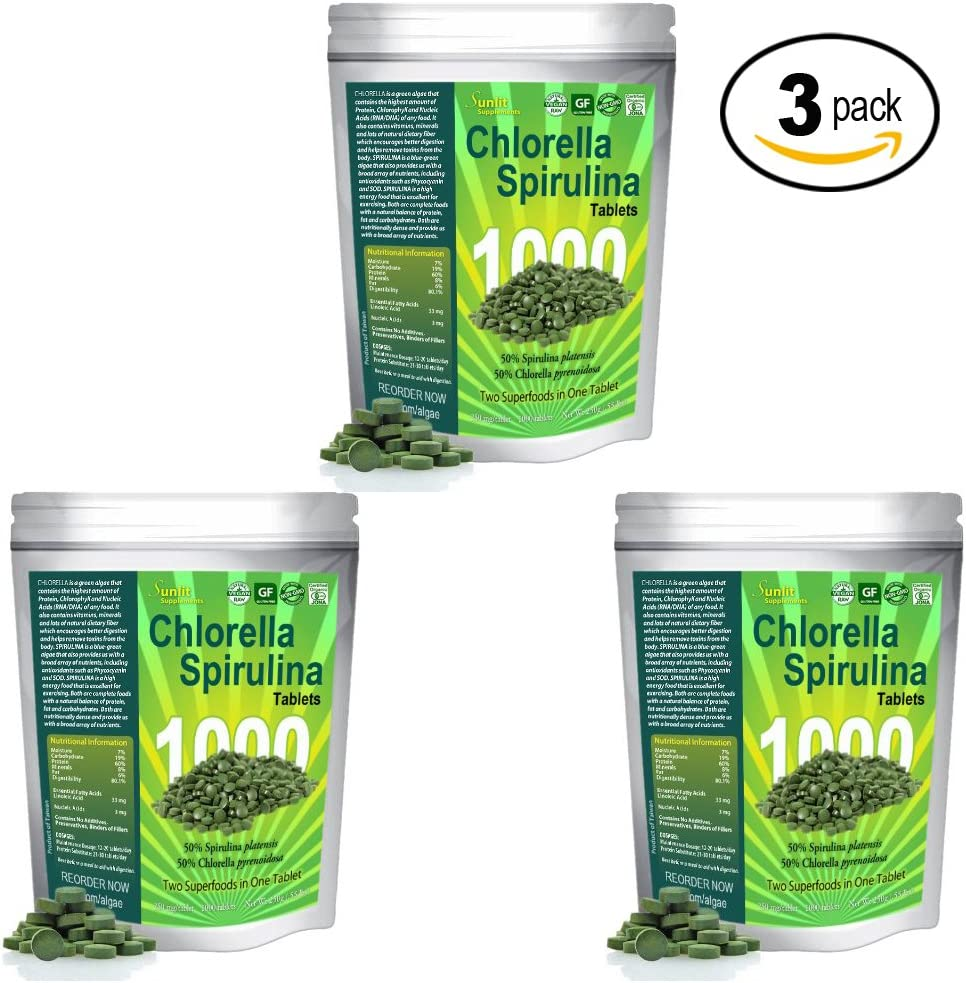 Chlorella Spirulina 50 50 Mega-Pack 1000 Cracked Cell Wall, 100 Pure Clean, Organic Raw Non-GMO Green Superfood, Protien Packed, by Sunlit, Best Green Organics 3-Pack
