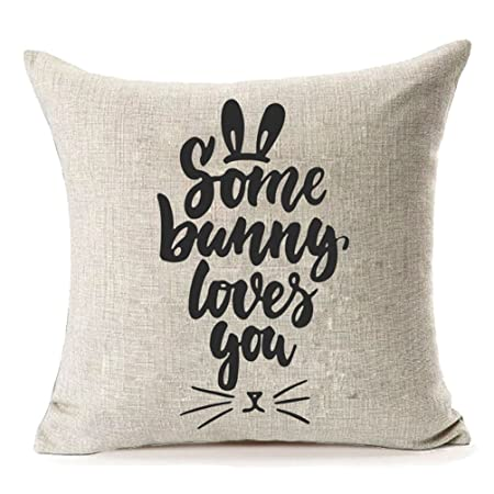 Mfgneh some bunny loves you home decor cotton linen easter pillow mfgneh some bunny loves you home decor cotton linen easter pillow covers throw pillow case cushion negle Choice Image