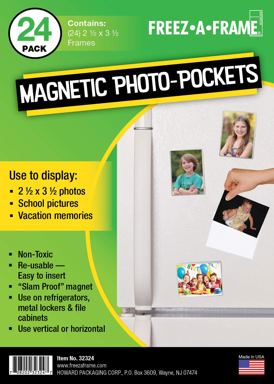 Freez-A-Frame Clear Magnetic Photo Frame Pockets For Refrigerator School Locker, or any Magnetic Surface Holds 2.5'' x 3.5'' Photos (1)