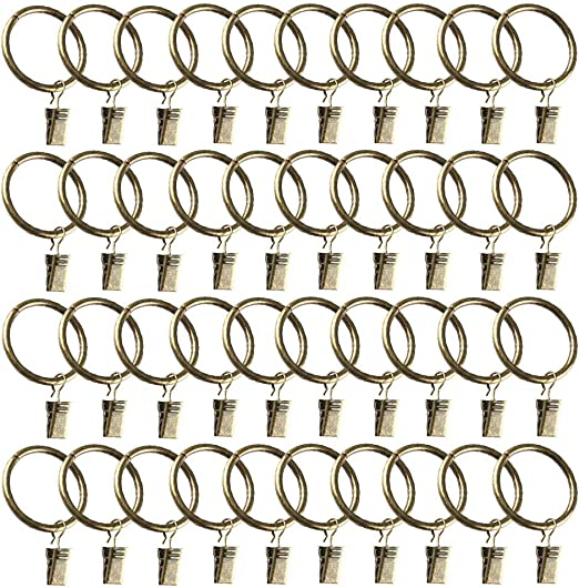 20x Stainless Steel Window Shower Curtain Rod Clips Eyelets Rings Drapery Clips