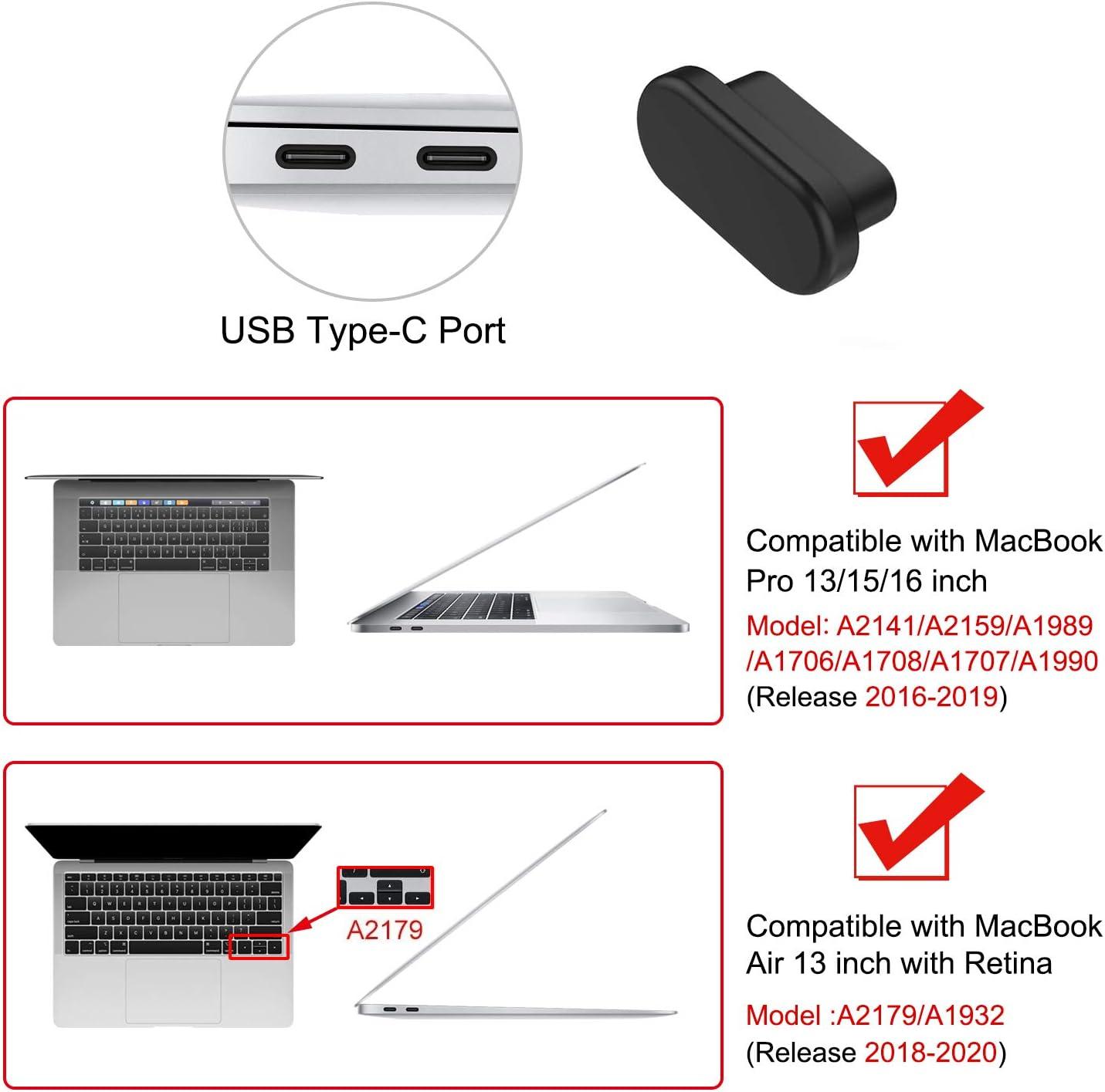 Silicone Port Bouchon Couvercles de D/époussi/éreurs Noir MOSISO 5 Pcs Anti Poussi/ère Salet/é Bouchon Compatible avec MacBook Pro 16 Pouces A2141 MacBook Air 13 Pouces A1932 MacBook Pro 13//15 Pouces