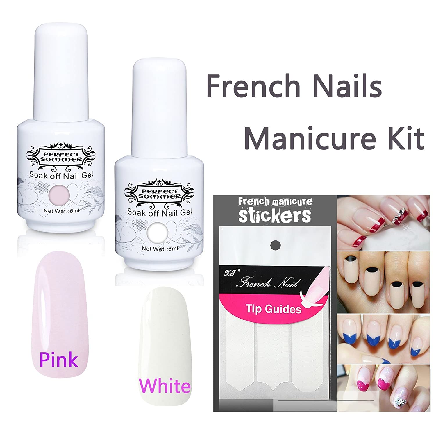 Perfect Summer Gel Polish Set French Nails Manicure Kit Light Pink + ...
