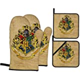 Har-ry Po-tter Four College Oven Mitts and Pot Holders 4Pcs Set Unisex Heat Resistant Oven Gloves with Cotton Lining, Non-Sli