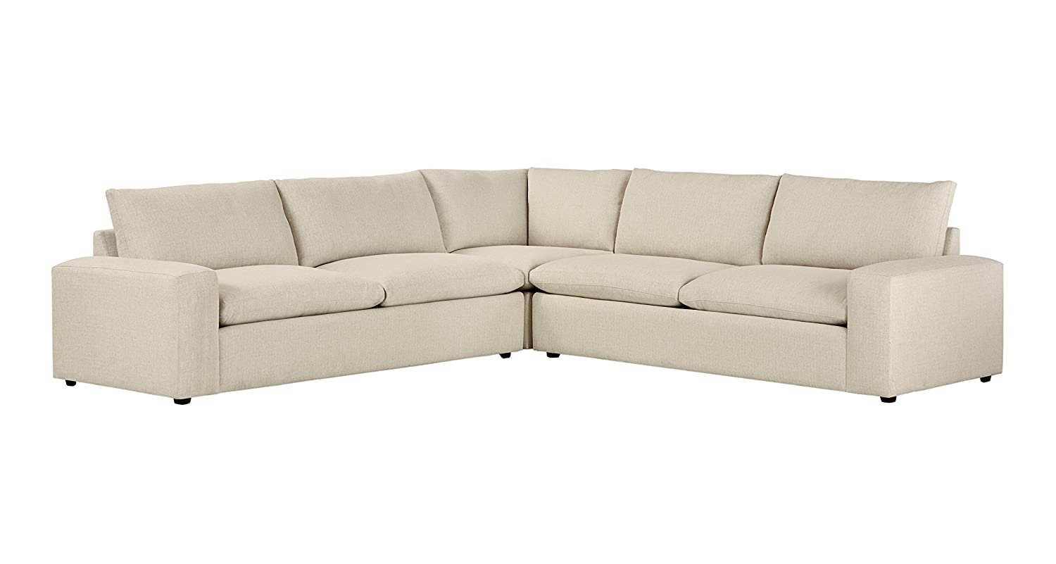 Stone & Beam Hoffman Down-Filled Performance Fabric Living Room Sectional  Sofa Couch, 127\