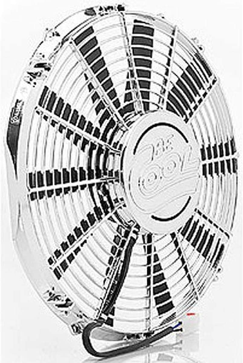 Be Cool 75109 Show /& Go 12 Chrome Puller Fan with Billet Cover