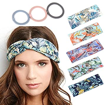 Headbands for Women Workout Cute Knotted Criss Cross Hairbands Printed  Stretchy Hair Accessories 5 Pack 3adaa00345b8